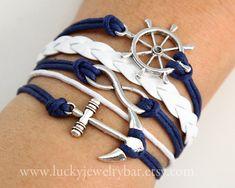 rudder bracelet, Infinity bracelet, anchor bracelet, leather bracelet, wax cords bracelet. $7.99, via Etsy.