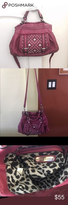 BETSY JOHNSON AUTHENTIC studded purse BETSY JOHNSON AUTHENTIC studded deep pink purse, Two pocket purse with long strap.  See pics for approximate sizes. Small scratch at the bottom of the purse.  There appears to be no stains inside. 🚫 trades.  Reasonable offers considered. Betsy Johnson Bags Shoulder Bags
