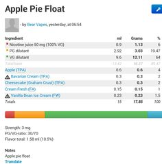 Apple pie float DIY e-juice
