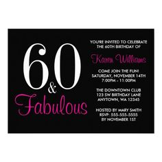 Custom Fabulous Black Pink Birthday Party Invitation created by printcreekstudio. This invitation design is available on many paper types and is completely custom printed. 60th Birthday Party Invitations, Gold Birthday Party, Fabulous Birthday, 30th Birthday Parties, Pink Birthday, Pink Invitations, Invitation Paper, Custom Invitations