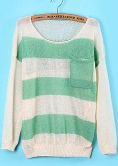 Green White Pockets Skull Print Knit Sweater - Sheinside.com