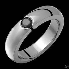 New 5mm Wide Mens Titanium Ring Black Cubic Zirconium Wedding Band Free Sizing #AlainRaphael #Band