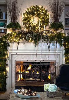Fireplace Mantle Decor for Christmas | Christopher Todd Design.