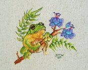 Image of Little Tree Frog, Tropical Flowers