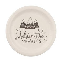 Shop Rustic Adventure Themed Baby Shower Paper Plate created by colleenmichele. Boy Baby Shower Themes, Baby Shower Gender Reveal, Baby Boy Shower, Baby Shower Ballons, Woodsy Baby Showers, Baby Shower Winter, Travel Baby Showers, Tribal Baby Shower, Woodland Baby