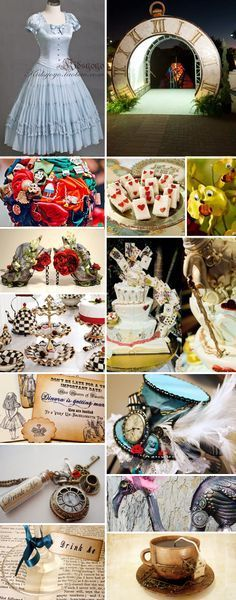 Alice in Steampunkland wedding inspiration board. [I don't necessarily want an Alice wedding, but I think this is incredible...especially the dishes (though very expensive)]