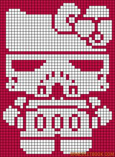 Free Storm Trooper Hello Kitty Hama Perler Bead Pattern or Cross Stitch Chart
