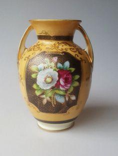 Noritake porcelain vase 2-handles yellow with roses on black panels 1930s wreath