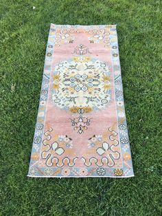 """OUSHAK RUG,Stunning Coral Colors Home Decor Vintage Turkish Wool Rug 2'6""""x5'7"""" 