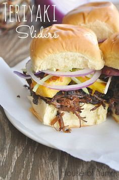 These sliders are overflowing with terriyaki beef and grilled pineapple.