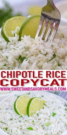 Chipotle Cilantro Lime Rice is a flavorful. Chipotle Cilantro Lime Rice is a flavorful level-up side dish that is healthy fluffy and is easily a crowd favorite. Learn this recipe and you will never cook it any other way! Chipotle Rice Recipes, Mexican Food Recipes, Vegetarian Recipes, Cooking Recipes, Healthy Recipes, Chipotle White Rice Recipe, Chipotle Lime Rice, Chipotle Chicken Copycat, Chipotle Burrito Bowl