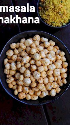 masala makhana recipe, phool makhana masala, roasted lotus seed snack with step by step photo/video. healthy snack recipe with lotus seed & dry spices. Aloo Recipes, Paratha Recipes, Spicy Recipes, Vegetarian Recipes, Cooking Recipes, Healthy Recipes, Asian Recipes, Easy Snacks, Healthy Snacks