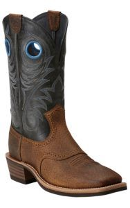 Ariat Heritage Roughstock Men's Earth Brown with Vintage Black Top Square Toe Western Boots | Cavender's