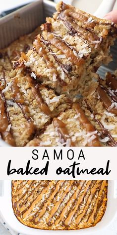 Love coconut, caramel and chocolate? You will adore this healthy Samoa baked oatmeal. It's made with coconut milk, date caramel and a chocolate drizzle. recipes videos for dinner Easy Samoa Baked Oatmeal Healthy Sweets, Healthy Breakfast Recipes, Healthy Baking, Healthy Snacks, Vegan Breakfast Casserole, Heart Healthy Desserts, Tofu Breakfast, Healthy Finger Foods, Healthy Oatmeal Breakfast