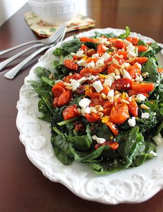 Roasted Tomato Spinach Salad with Citrus Mustard Vinaigrette