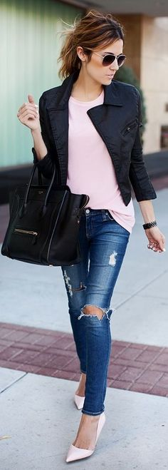 Ripped Jeans + Leather
