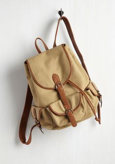 Backpack to the Future Bag in Tan. Stuff your go-to gadgets in this tan, canvas backpack and set off for adventure! #tan #modcloth