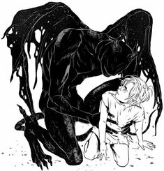 darkness comes down to pick up a crying child the child looks back at darkness Dark Fantasy Art, Arte Horror, Horror Art, Art And Illustration, Mangaka Anime, Art Sinistre, Vent Art, Dark Art Drawings, Demon Drawings