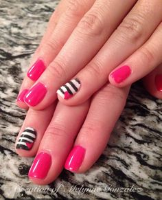 Shellac pink nails w/ grey and white stripes accent nail