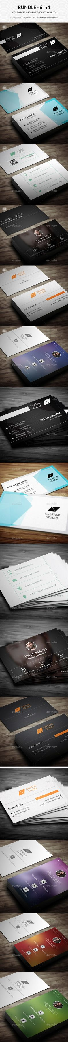 Bundle 6 in 1 creative business cards b34 business cards 6 creative business card templates psd reheart Images