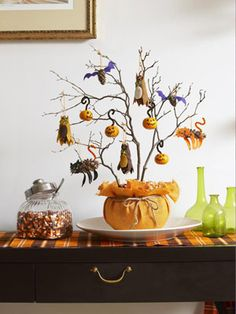 DIY Halloween Tree and Ornaments,how cute is this!!!!