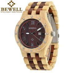 BEWELL Wooden Watch Men Wood Auto Date Wristwatch Men's Quartz Watch Top Brand Luxury Watches Men Clock with Paper Box 109A