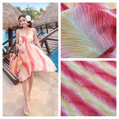 Rose red and yellow gradient printing chiffon fabric / Japan and South Korea fabric / female coat skirt fabric / gradient clothi #Affiliate