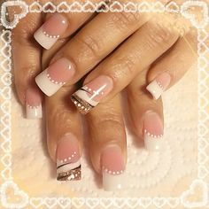 Pink and white french bridal nail design