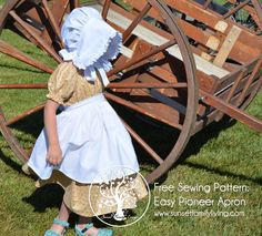 Free Little House inspired costume patterns Sewing Patterns Free, Clothing Patterns, Free Sewing, Apron Patterns, Sewing Projects For Kids, Sewing For Kids, Sewing Clothes, Diy Clothes, Pioneer Costume