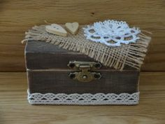 rustic wedding ring box/ shabby chic decor/wedding by GracesLaces