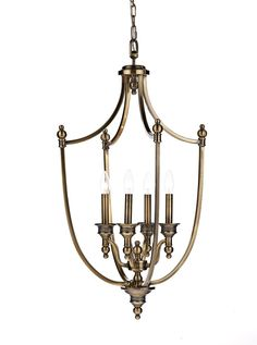 LOM0475 Lombard 4 Light Lantern Pendant in Antique Brass Open brass frame and…