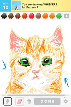 Draw Something - Drawing of a cat!  COME ON NOW!  FOR REAL?!?!  That's so awesome!