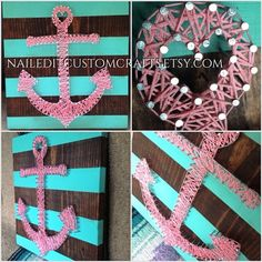 Made-to-order - This is my own original concept - not a replication of anyone else's design. You will not find this anywhere else unless someone tries to copy my design. :) I hand painted the stripes which carry over onto the sides of the wood and the anchor is hand drawn and was converted into string art. Truly 100% handmade!!! This size is 12x12 on honey stained wood. I can adjust the colors of the stain, paint, and string to your liking to match any pre-existing decor you have.