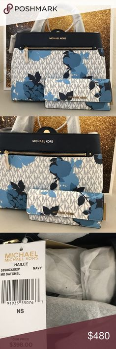 "NWT MICHAEL KORS HAILEE MD NAVY FLORAL SATCHEL SET 100% Authentic Michael Kors! Comes with satchel & matching jet set travel flat navy and white wallet.   No dust bag || 📌 NO TRADES  • MSRP: $398.00  • Style: 35S8GX2S2V   • Magnetic snap closure  • Fromt zipper pocket  • Phone pocket on a back  • Dual leather handles with a 5"" Drop  • Interior: 1 zipper pocket and 4 slip pockets  • 9.5"" height 13"" length 5.5"" diameter Removable/ Adjustable strap drop 24"" Michael Kors Bags"