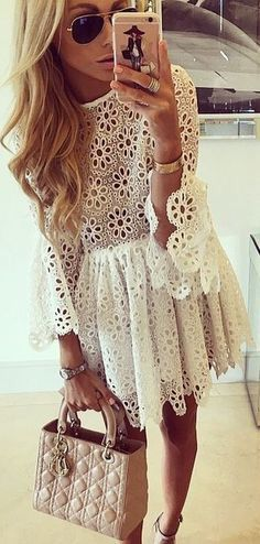 We are loving this white lace dress! It's so cute and perfect for summer! Yo… We are loving this white lace dress! It's so cute and perfect for summer! You can wear this cute outfit with booties or heels! Cute Dresses, Casual Dresses, Casual Outfits, Black Outfits, Casual Clothes, Trendy Dresses, Fashion Mode, Womens Fashion, Dress Fashion