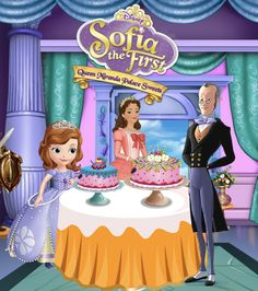 Sofia and Queen Miranda Palace Sweets Mickey Mouse Parties, Mickey Mouse Clubhouse, Mickey Mouse Birthday, Princess Birthday, Princess Party, Princess Sofia The First, Princess Sophia, Little Princess, Tangled Party