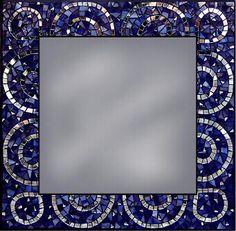 Square Scalloped Mosaic Mirror~Ariel D-G