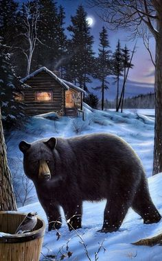 Cabin Bear...Painting More