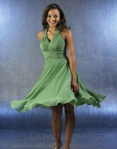 Sheath Halter Tea Length Chiffon Bridesmaid Dress