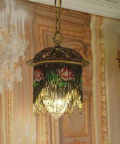 Vintage Pendant Chandelier Wrought Iron Cage Beaded Fringe Crystal Net Shade
