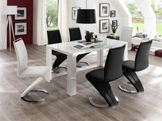Tizio glass top dining table in high gloss with 6 black chairs - buy modern, contemporary glass dining table and Glass Top Dining Table, Modern Dining Table, A Table, Dining Tables, Faux Leather Dining Chairs, Furniture Catalog, Buy Chair, Dining Room Chairs, Black Chairs