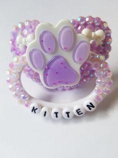 Purple Kitten Adult Pacifier from Little Dreamers Shoppe
