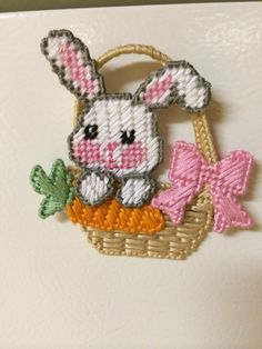 Easter bunny magnet plastic canvas by Cathygiftsandthings on Etsy https://www.etsy.com/listing/183792563/easter-bunny-magnet-plastic-canvas