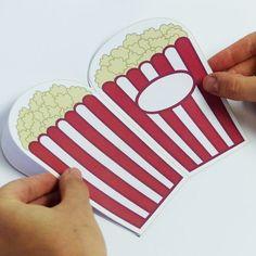Vorlage!  Für die Movie-Night ist das die perfekte Einladung:   Die Popcorn-Tüte bringt die richtige Vorfreude auf den Kino-Film! Da   werden die kleinen Gäste schon richtig auf das Motto eingestimmt!  Weitere Ideen für die nächste Geburtstagsparty findest Du auf blog.balloonas.com    #party #motto #balloonas #movienight #kino #einladung #geburtstag #geburtstagsparty #teens #teenager   #film #popcorn #invitation #funk #download #direct #diy
