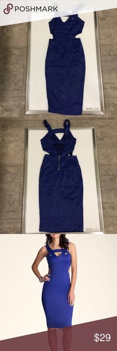 Bebe Royal blue cutout midi summer dress size Xs Bebe Royal blue cutout midi summer dress size Xs new with tags bebe Dresses Midi