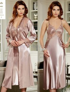 Jeremi 482 6 Pcs Satin Robe Set will make you redefine comfort when you wear this cozy and stylish set. Satin Nightie, Satin Sleepwear, Satin Lingerie, Pretty Lingerie, Bridal Lingerie, Sleepwear Women, Lace Nightgown, Wedding Night Lingerie, Satin Bluse