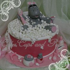 Hippo cake 'One Spoilt Lady'..All edible,handmade elements..