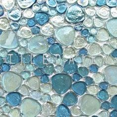 Iridescent Pebble Glass Mosaic Tile Mix Blue For Wall & Floor - Wall Tiles - Ideas of Wall Tiles