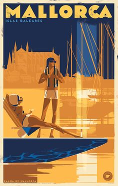 "Retro travel poster — Mallorca, Spain â›"" HQ quality Poster Vintage Travel Posters, Vintage Ads, Tourism Poster, Balearic Islands, Cool Posters, Illustrations And Posters, Poster On, Behance, Beautiful Series"