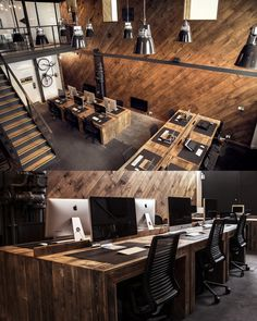 It's gorgeous wooden Open Plan Office! #openplanoffice Cubicles.com